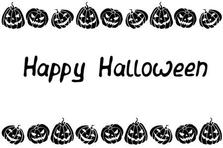 Background, frame for Happy Halloween. Horizontal border of festive icons - Jack lantern, pumpkin. Background for greeting card, invitation, party poster, banner.