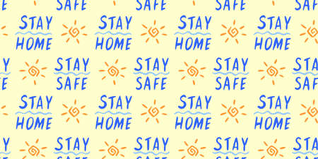 Stay home, stay safe - hand vector lettering on theme of quarantine, self protection times and coronavirus prevention in hand drawn style. Seamless pattern for social media, sites, flyers, web.