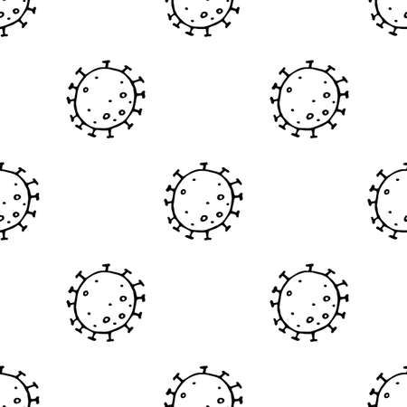 Seamless pattern bacterium coronavirus vector illustration. Stop COVID-19. Black and white vector background, texture, wallpaper 向量圖像