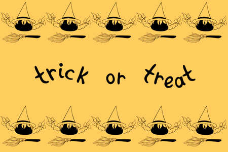 Background, frame for Halloween. Horizontal top and bottom ending, border of witch icons and brooms. Trick or treat-lettering. Backdrop for greeting card, invitation, party poster, banner.