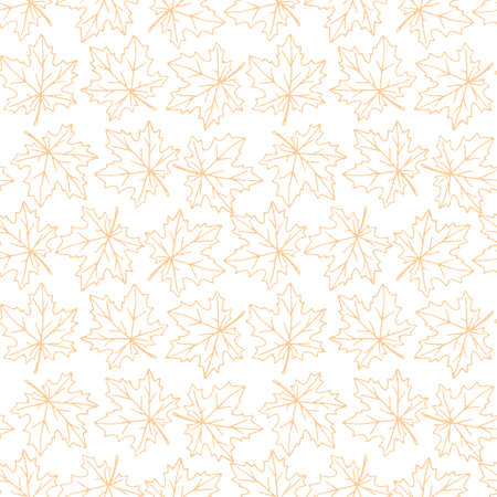 Seamless pattern of contoured maple leaves isolated. Simple vector texture for fabric, invitations, home textiles. Concept of autumn, forest, leaf fall.