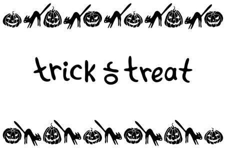 Background, frame for Halloween. Horizontal border of festive icons - Jack lantern, pumpkin, black cat. Trick or treat-lettering. Background, title for greeting card, invitation, party poster, banner.