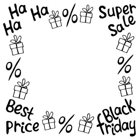 Vector frame on theme of black Friday, shopping, discounts and sales. Border made from hand drawn outline gifts, percents, inscriptions in doodle style.
