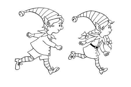 Cute little Christmas Elves girl and boy. Vector hand drawn black outline Cartoon characters. Simple illustration for New year and xmas design, greeting cards, calendars, prints, coloring book.
