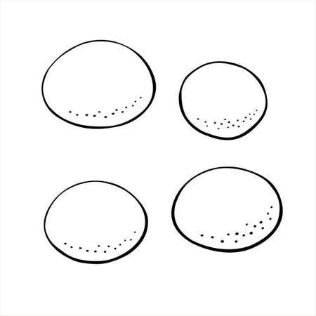 Vector outline buns, scone, crumpet. Hand drawn simple bread icons in doodle style. Black line sketch set for bakery isolated on white background.