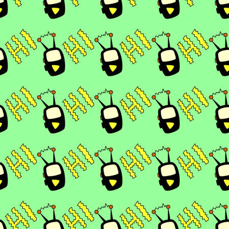 Seamless pattern with Radio, walkie-Talkie, transmitter, mobile phone or MP3 player in cartoon style. Design element on the theme of communication, Initial contact. Doodles vector illustration.