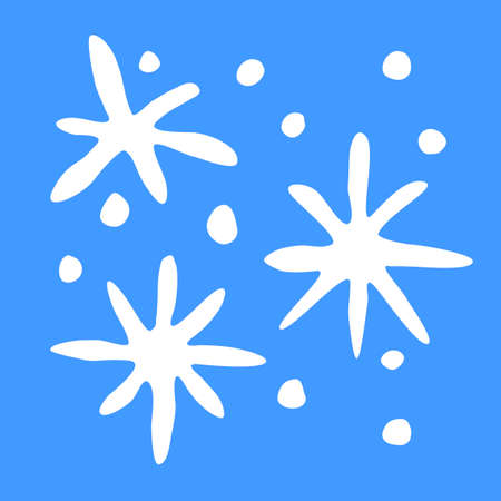 Set of white Snowflakes isolated on blue background. Line art, doodle, hand drawn. Xmas, New Year, winter elements of design and icons. Simple vector illustration.