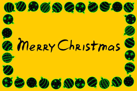 Vector frame of Christmas tree balls with lettering Merry Christmas. New year Xmas background, border, title for winter holidays decor, greeting cards, invitations.