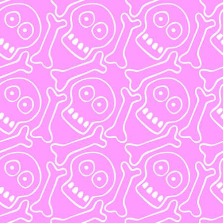 Seamless pattern with human skull and bones. Primitive cartoon style Doodle. Background and texture on theme of Halloween, danger, death, war, poison. For fabric, packaging, party, poster, banner.