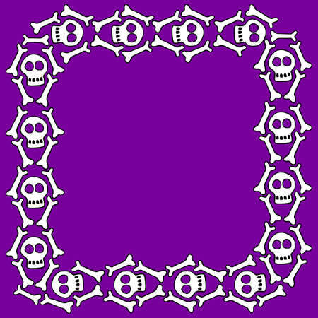Square frame with skulls and bones. Theme of Day of the Dead and death. Vector border, background of Halloween.