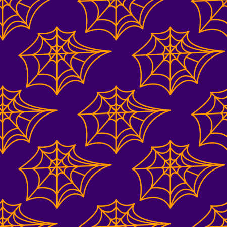 Spider web seamless pattern. Vector illustration isolated on white background. Halloween texture.