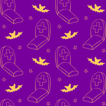 Happy Halloween. Seamless pattern of doodles Graves, Tombstone, crosses and bat. Night at the cemetery, isolated. Vector holiday backgrounds and textures.