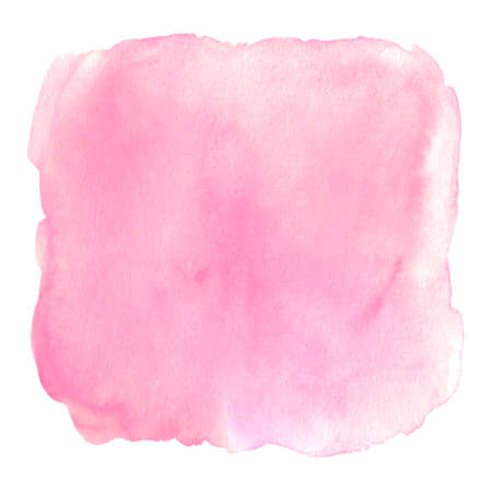 Pink watercolor square splash background. Abstract hand drawn paint textured blot stain spot blob isolated on white background