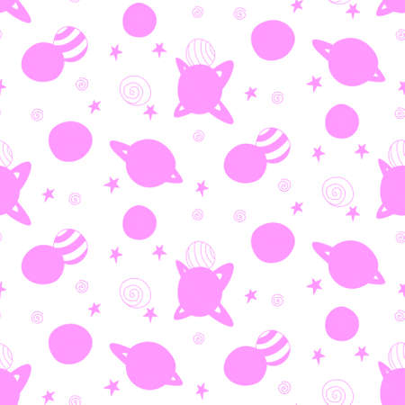 Baby space seamless pattern. Cartoon pink outline planets and stars. Vector cosmic background and texture. For kids design, fabric, wrapping paper, wallpaper, textile, apparel. Illustration
