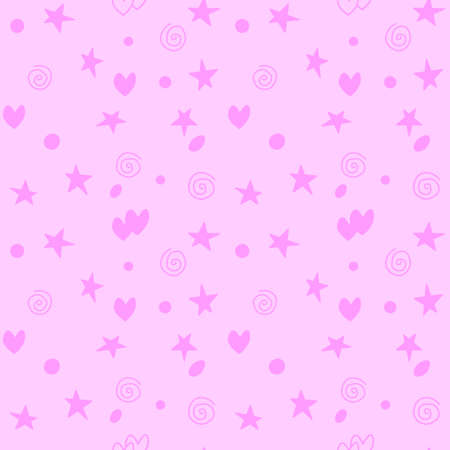 Seamless pattern of simple elements stars hearts points circles rounds rings spirals helixes in doodle style. For background, wrapping paper, birthday, fabric, textile, baby texture.