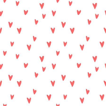 Seamless abstract pattern of small red hearts. Hand drawn doodle background, texture for textile, wrapping paper, Valentines day. Illustration