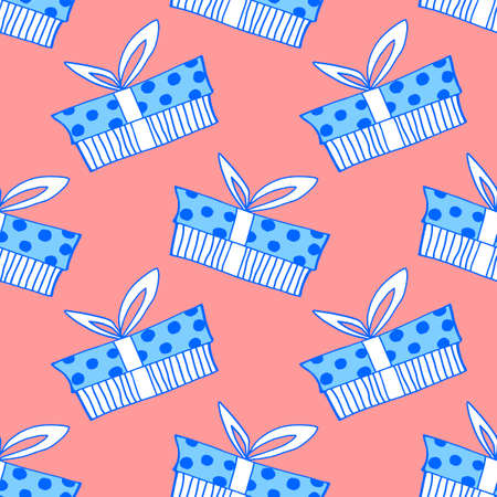 Vector Seamless pattern with outline gift box in flat doodle style. Cute hand drawn presents on holidays background and texture. For Valentine day, birthday, greeting cards, wrap paper, fabric, xmas.