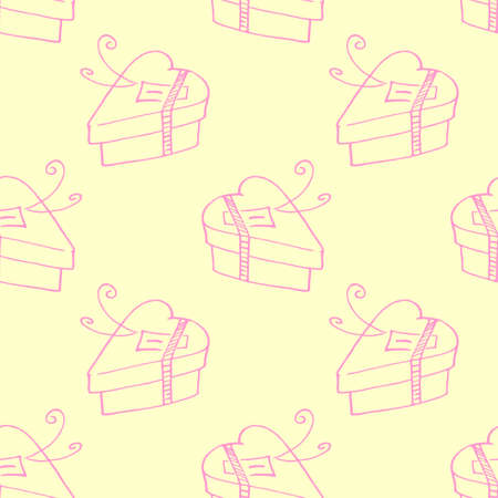 Vector seamless pattern with gift boxes in shape of heart. Hand drawn holiday background and texture in doodle. For wrapping paper, greeting cards, packaging, wedding, birthday, valentine's Day.