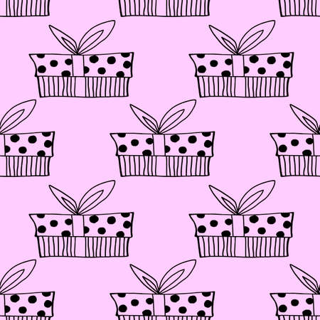 Vector Seamless pattern with outline gift box in doodle style, line art. Cute hand drawn presents on holidays background and texture. For Valentine day, birthday, greeting cards, wrap paper, fabric. Ilustracja