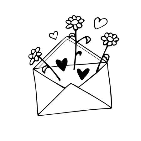 Envelope with letter, flowers and hearts. Cute hand drawn vector element of romantic design. February 14, Valentine's Day. Declaration of love.