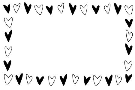 Hand drawn frame, border from black outline hearts. Simple romance symbol of love background