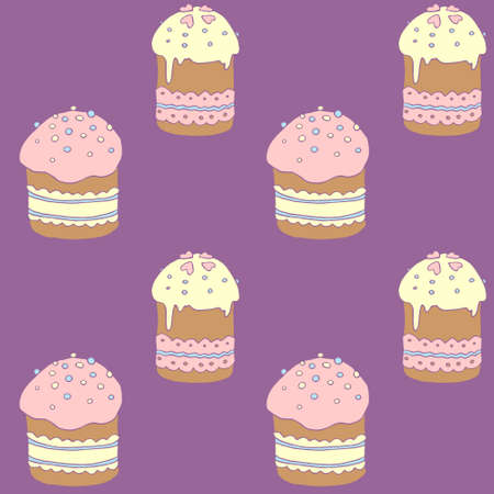 Seamless pattern. Easter cake or sweet bread or Paska. Soft colorful Spring festive background and texture with traditional food in cartoon style. Hand Drawn vector illustration.