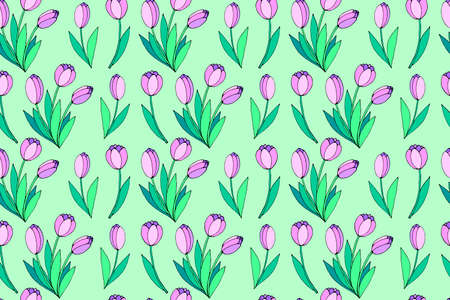 Vector seamless pattern with pink tulip flowers. Hand drawn spring texture, background. For wrapping paper, textile, greeting card, wedding, birthday, mother's or women's or Valentine's Day.
