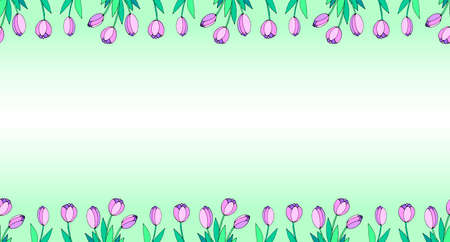 Spring flowers. Frame from pink tulips. Vector doodle hand drawn isolated. Horizontal top and bottom edging, border, decoration for greeting card, invitation, Valentine's, Women's or Mother day.