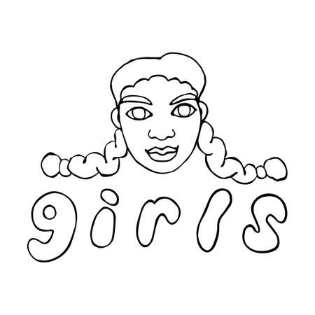 Vector outline face people. Hand drawn line art illustration. The head of woman, girl in the style of a Doodle, isolated on a white background.