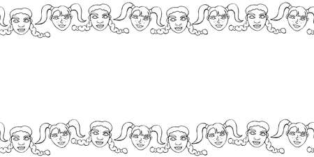Frame, background, seamless pattern of contoured faces of children, girls with ponytails and pigtails. Horizontal top and bottom edging, border, trim. Hand drawn vector illustration
