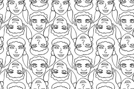Seamless pattern with cartoon faces vector people. Hand drawn line art illustration. Outline doodle heads of women, men, boys, girls. Texture backdrop