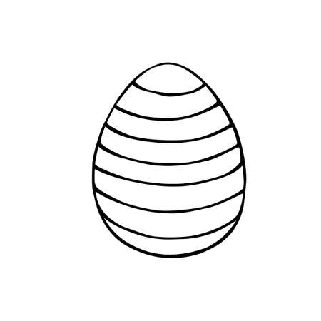 Vector black outline easter egg in stripes. Holiday illustration in hand drawn doodle style for gift card certificate banner sticker, stamp, logo, icon label, coloring book page.