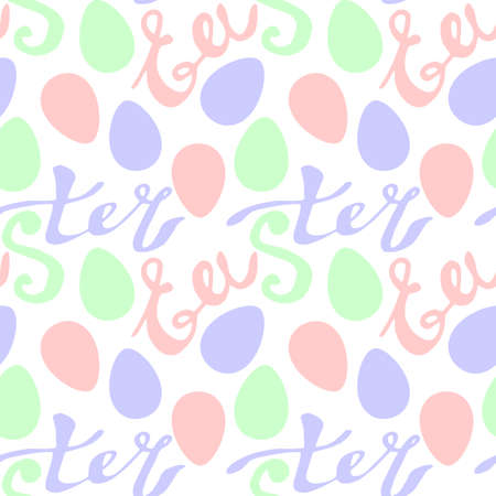 Seamless pattern of Easter lettering and ornamental eggs. Vector pastel multicolor holiday decorations, backgrounds and textures. For fabric, textile, wrapping paper, packaging.