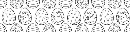 Vector seamless pattern with outline Easter eggs. Spring hand drawn doodle, holiday backgrounds and textures with decorative elements. Traditional digital paper. Illustration