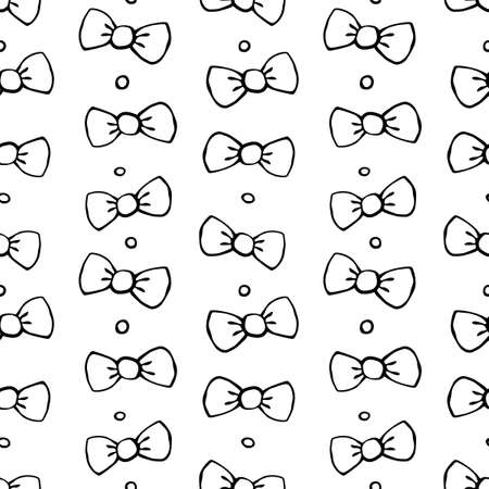 Seamless pattern with bows, asymmetric random polka dots, bubbles or buttons. Cute fun simple abstract vector background, texture for fabric, wrapping paper, kids design.