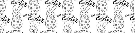Seamless pattern with cute funny contoured bunnies with eggs and Happy Easter lettering. Vector hand drawn outline doodle illustration. Holidays backgrounds, templates and textures.