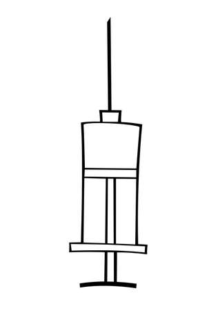 Vector syringe icon. Hand drawn black outline doodle isolated. Medical supplies, equipment, vaccine to treat and protect against virus and vaccination.