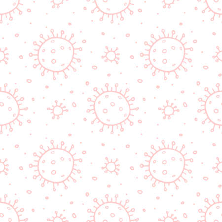 Seamless pattern of molecules, cells of virus, bacteria.  Concept of quarantine virus, vaccination. Vector hand drawn background in outline doodle style isolated.  イラスト・ベクター素材