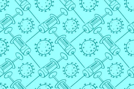 Vector seamless pattern on theme of vaccination. Contour molecules, coronavirus cells and a vaccine syringes. Medical background and texture in the Doodle style. Illustration