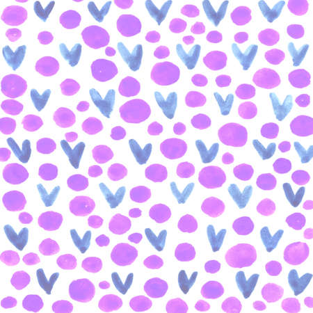 Abstract background with hearts stains and circles. Brush strokes watercolor, paint spots. Children, sketch, doodle, hand drawn.