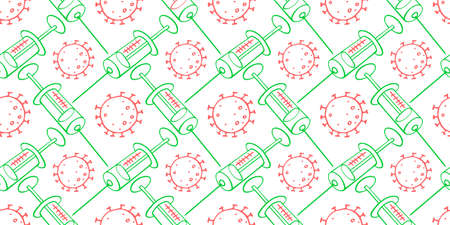 Vector seamless pattern on theme of vaccination. Contour molecules, coronavirus cells and a vaccine syringes. Medical background and texture in the Doodle style Standard-Bild - 167147770