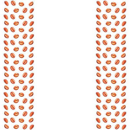 Background, side border, backdrop of scattered roasted coffee beans. Watercolor illustration background for cafe, bistro, restaurant, bars menu card. Food and drink texture design.