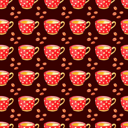Seamless pattern with red polka dot cups mugs and grains of coffee. Hand drawn kitchen supplies isolated. Cozy background and texture. Perfect for packaging, home decoration, textile, menu, cafe.