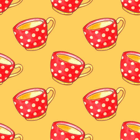 Seamless pattern with red polka dot cups. Watercolor Background and texture with Mugs from hot drink. Hand drawn kitchen supplies. Perfect for packaging, home decoration, textile, menu, cafe.