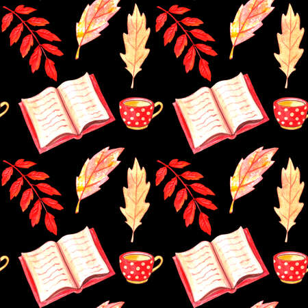 Watercolor seamless pattern with open book, red polka dot cup and autumn leaves. Colorful background on the theme of Hobbies, recreation, cozy, happy fall, 写真素材