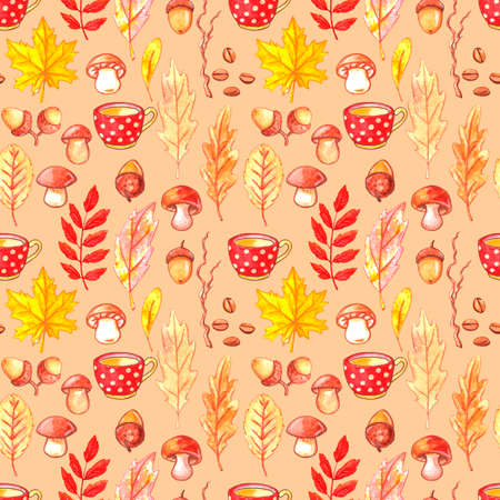 Watercolor seamless pattern, autumn collection, fallen leaves, mushrooms, acorns, grains and a Cup of coffee. Walk through the woods, comfort and warmth, retro Wallpaper.
