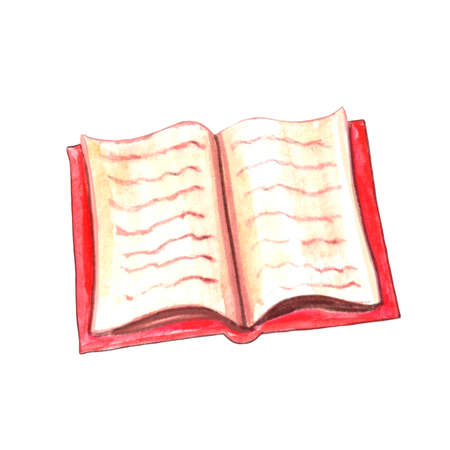Hand drawn watercolor illustration of an open book in red cover. Artistic texture of old yellow paper with text. Vintage design element.