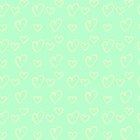Seamless abstract pattern of small hearts. Hand drawn doodle background, texture for textile, wrapping paper, Valentines day, birthday. Simple cute fun spring or summer design.