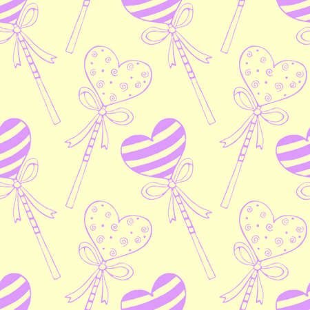 Vector seamless pattern from heart shape lollipops, gingerbreads on stick with bows. Hand drawn doodle texture, background. For Valentine's Day, confectionery shop decoration. Love sweet candy.