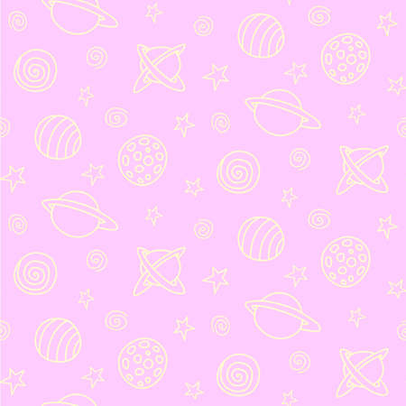 Baby space seamless pattern. Cartoon pink outline planets and stars. Vector cosmic background and texture. For kids design, fabric, wrapping paper, wallpaper, textile, apparel.  イラスト・ベクター素材